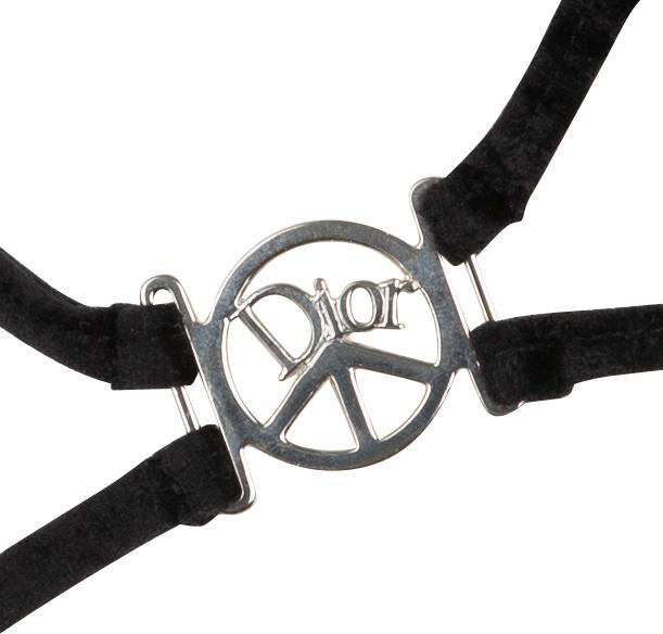 Christian Dior Velvet Embellished Peace Sign One-Piece