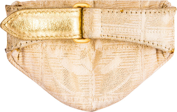 Chanel Mini Gold Canvas Wristlet Pouch