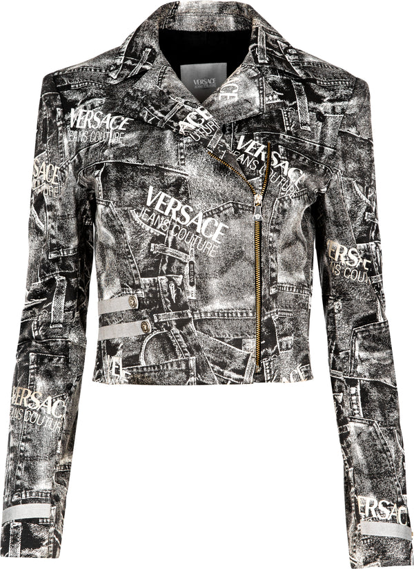 Gianni Versace Trompe L'oeil Motorcycle Denim Jacket