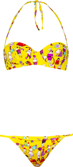 Chanel Spring 2001 Yellow Coco Printed Bikini