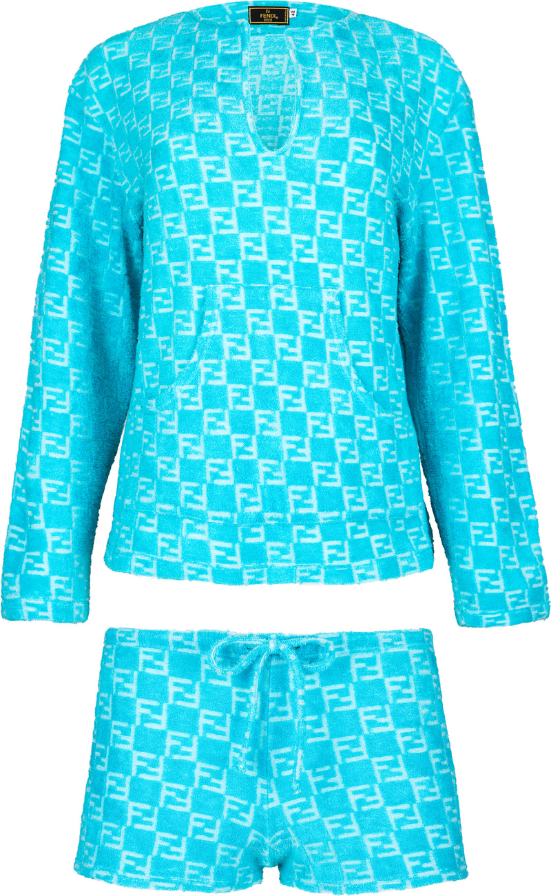 Fendi Turquoise Monogram Terrycloth Top Shorts Set