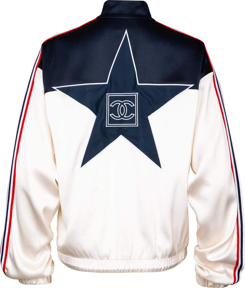 Chanel Spring 2002 Logo Embroidered Star Bomber Jacket