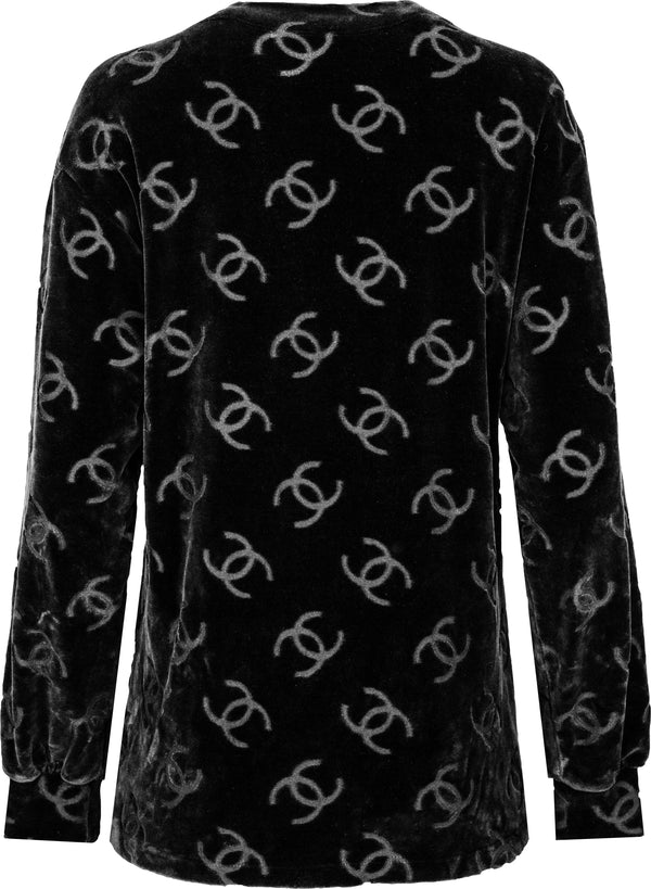 Chanel Black Velour Logo Spring 1996 Runway Jacket