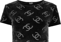 Chanel Black Velour Logo Spring 1996 Crop Top