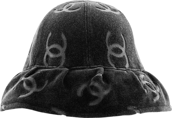 Chanel Black Velour Logo Spring 1996 Bucket Hat