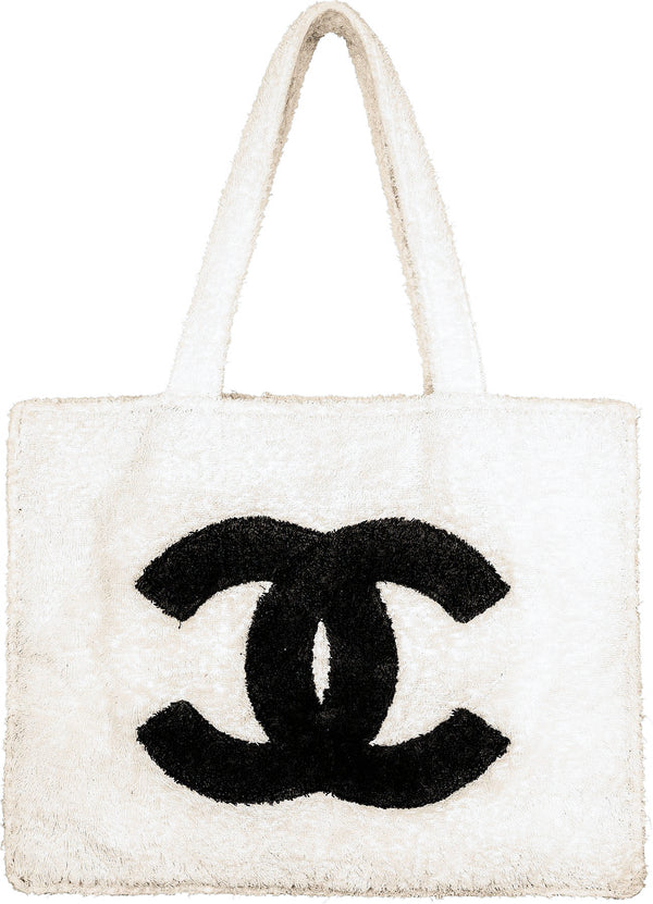 Chanel Spring 1994 Beige Jumbo Terrycloth Logo Tote