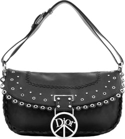 Christian Dior Logo Peace Sign Leather Shoulder Bag