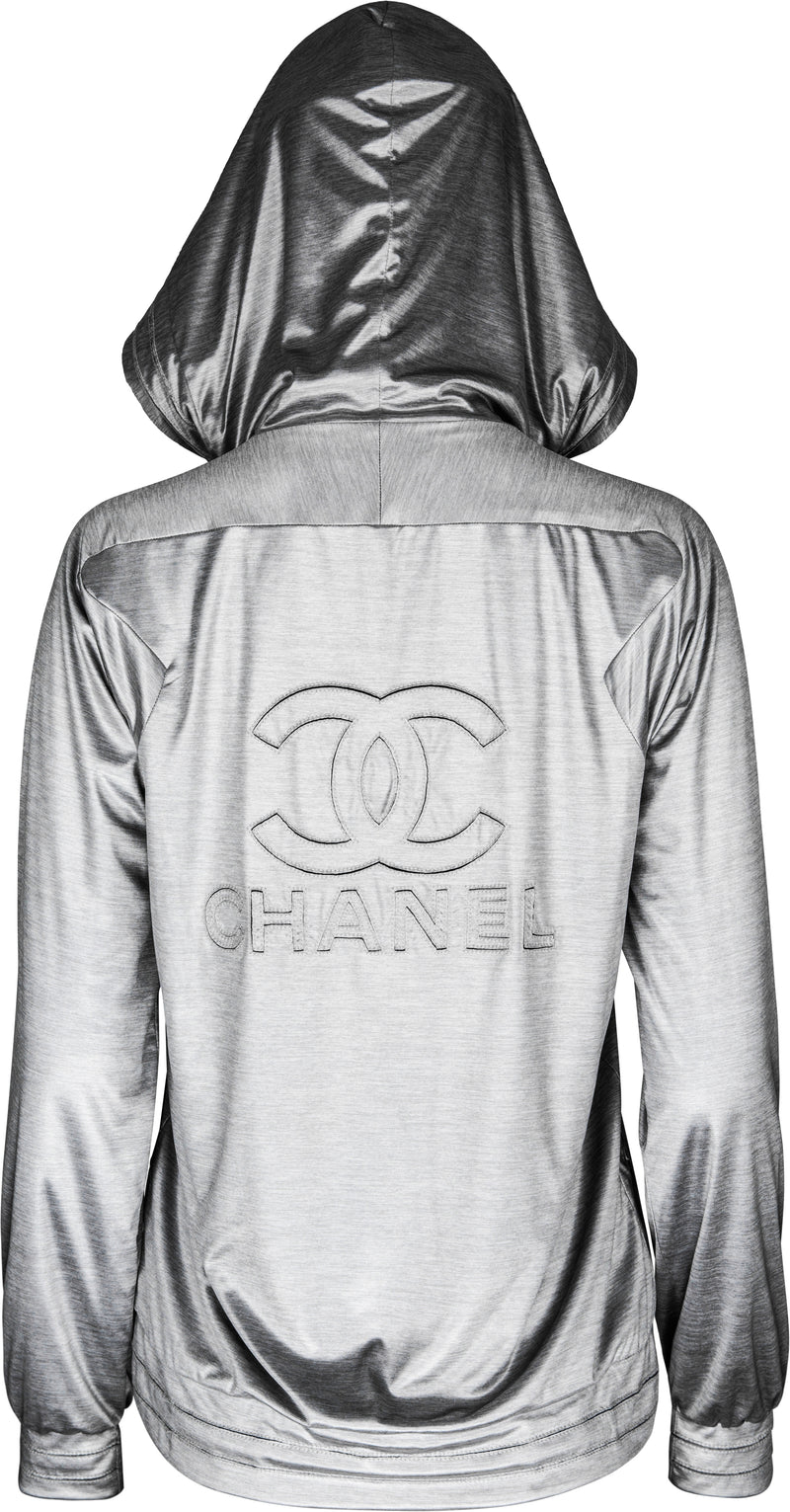 Chanel Fall 2012 Silver Embroidered Logo Track Jacket