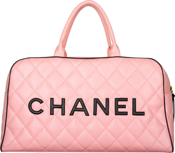 Chanel Logo Quilted Lambskin Large Bowler Bag