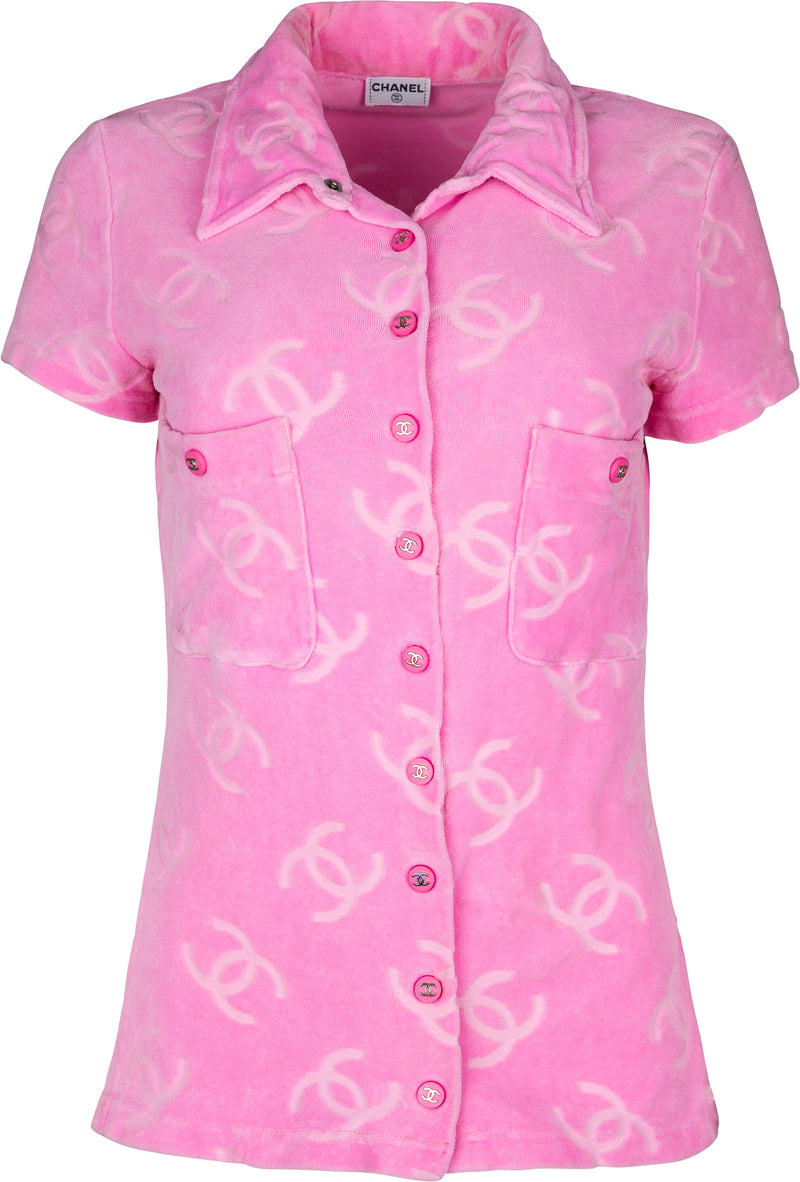 Chanel Pink Velour Logo Spring 1996 Runway Top