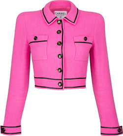 Chanel Spring 1995 Runway Tweed Cropped Pink Blazer