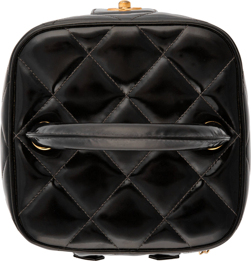 Chanel Spring 1995 Black Logo Vanity Bag