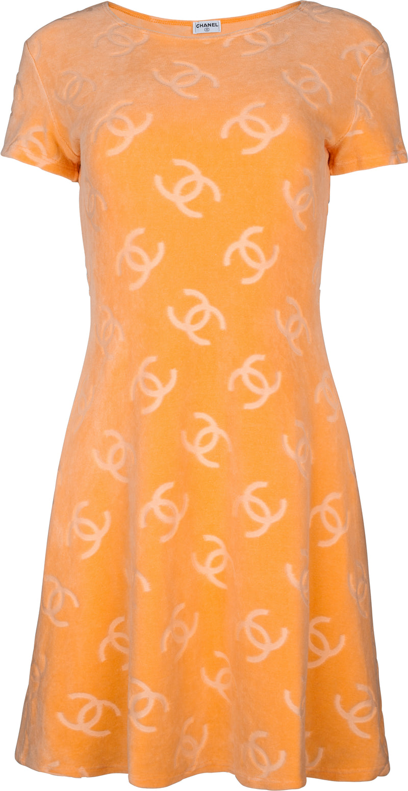 Chanel Tangerine Velour Logo Spring 1996 Mini Dress