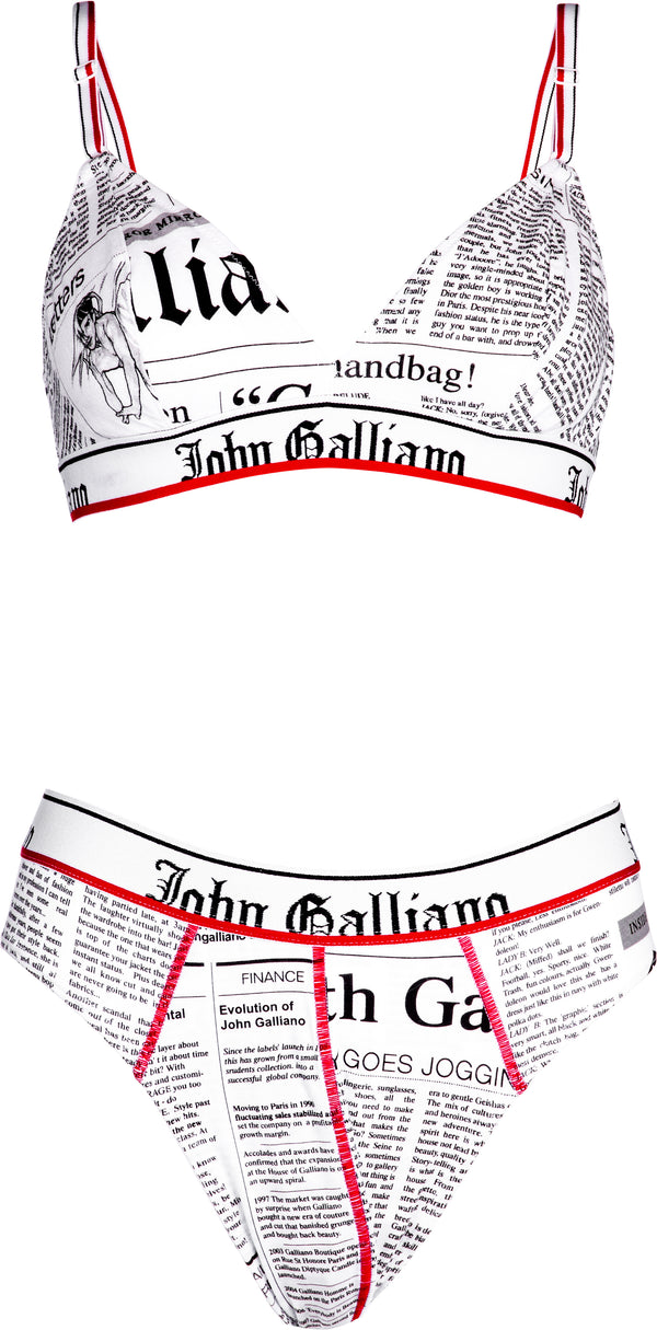 John Galliano Gazette Newspaper Bra Panty Set