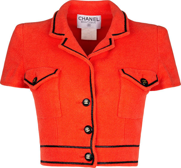 Chanel Spring 1995 Campaign Tweed Cropped Red Blazer