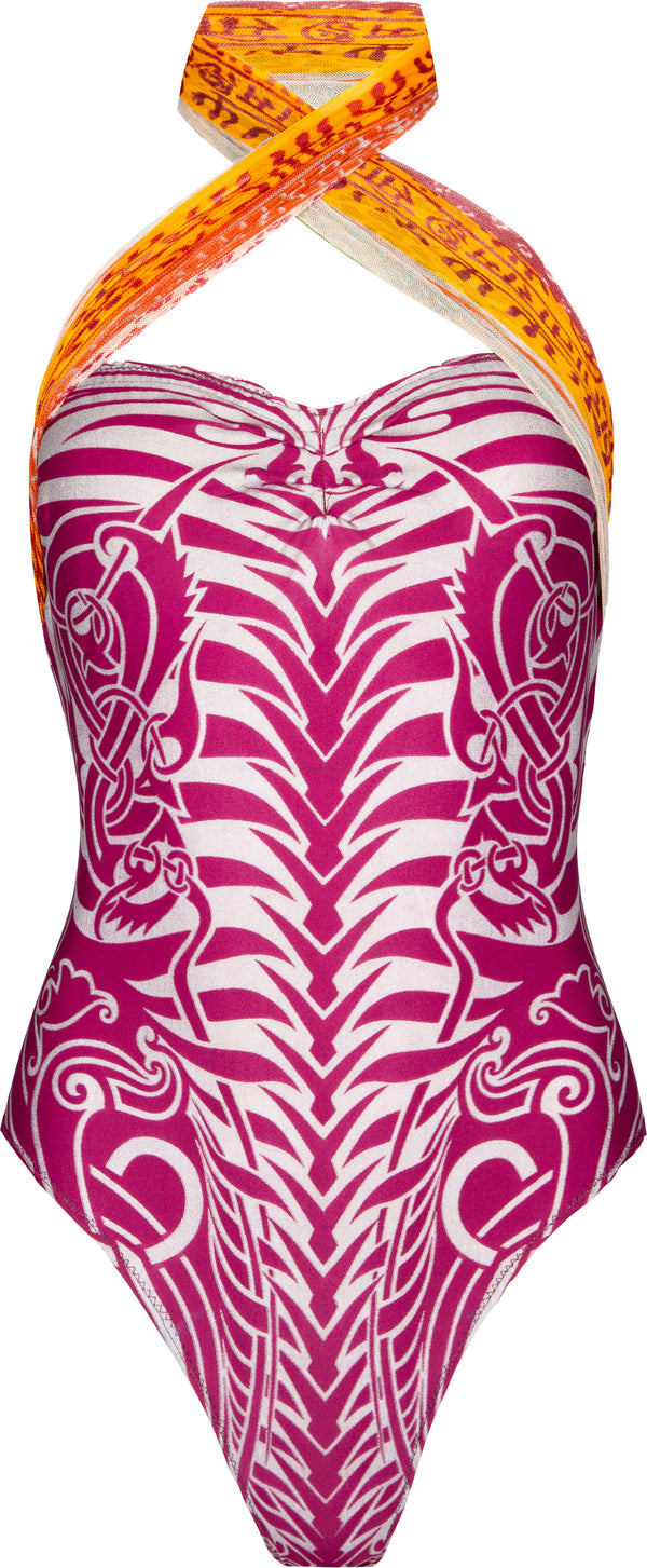 Jean Paul Gaultier Spring 1994 Tribal Printed One-Piece