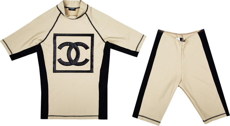 Chanel Spring 2001 Logo Top Biker Shorts Set