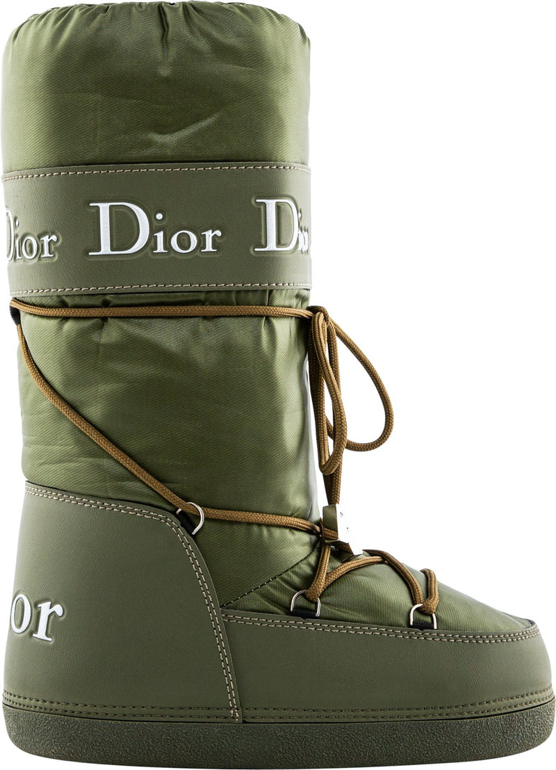 Christian Dior Olive Logo Moon Boots