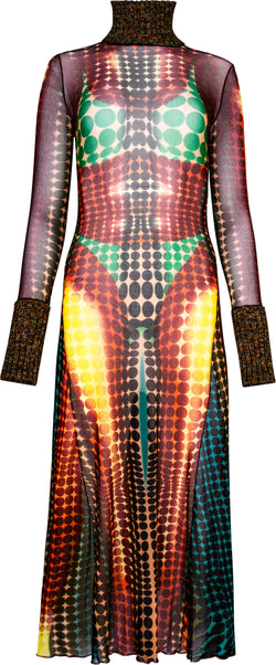 Jean Paul Gaultier Fall 1995 Runway Cyber Dots Mesh Dress