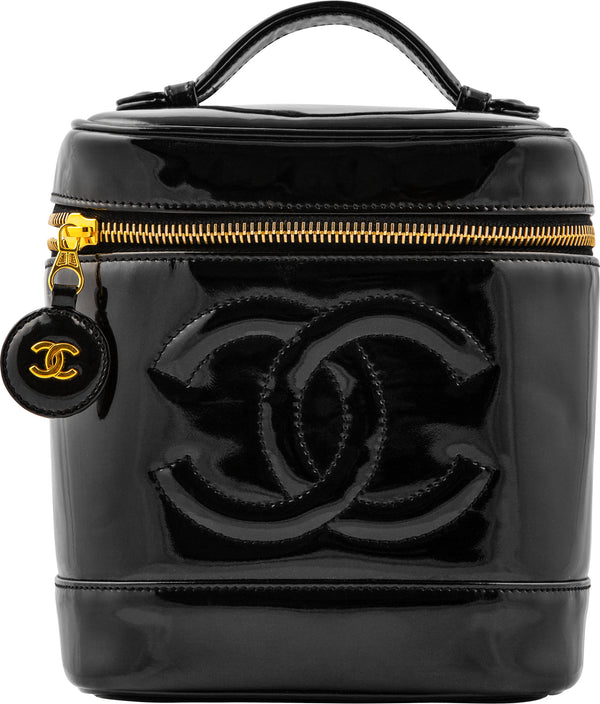 Chanel Black Patent Logo Vanity Bag