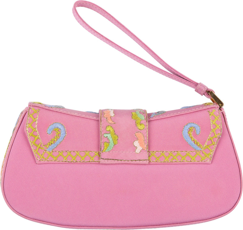 Christian Dior Limited Edition Embroidered Mini Wristlet Clutch