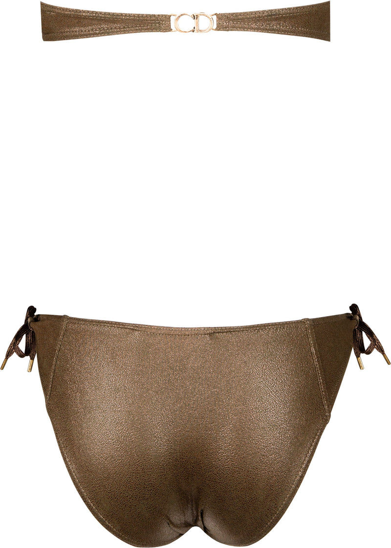 Christian Dior Metallic Lace-Up Bustier Bikini