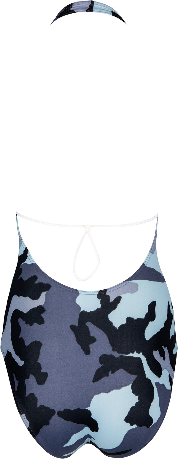 Christian Dior Grey Camouflage Halter One-Piece