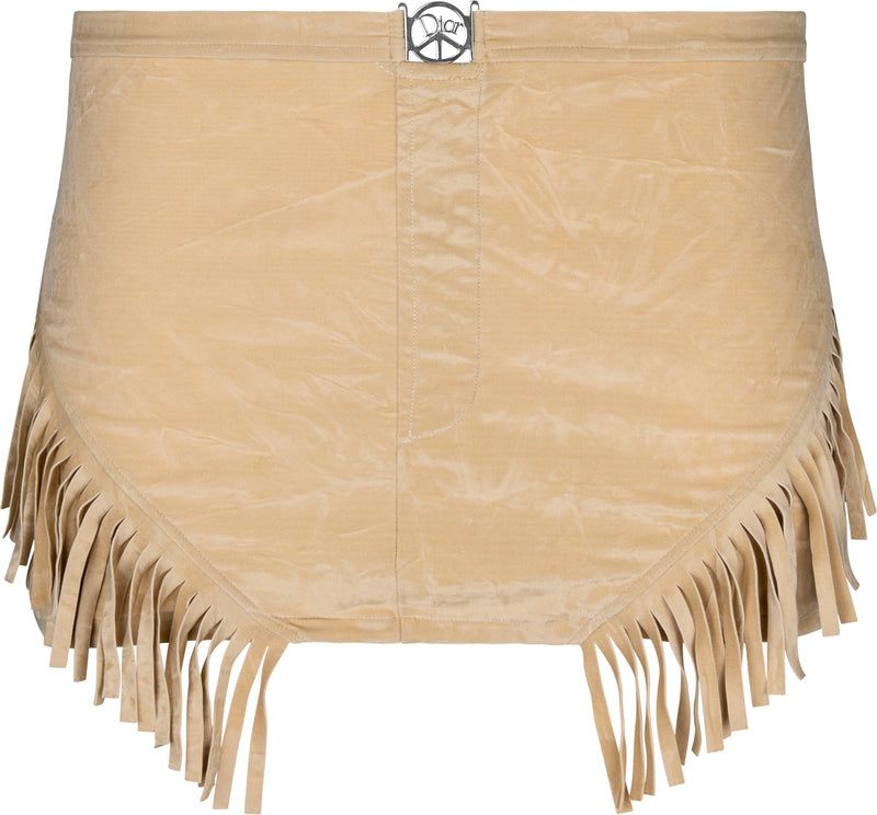 Christian Dior Peace Sign Fringe Mini Skirt
