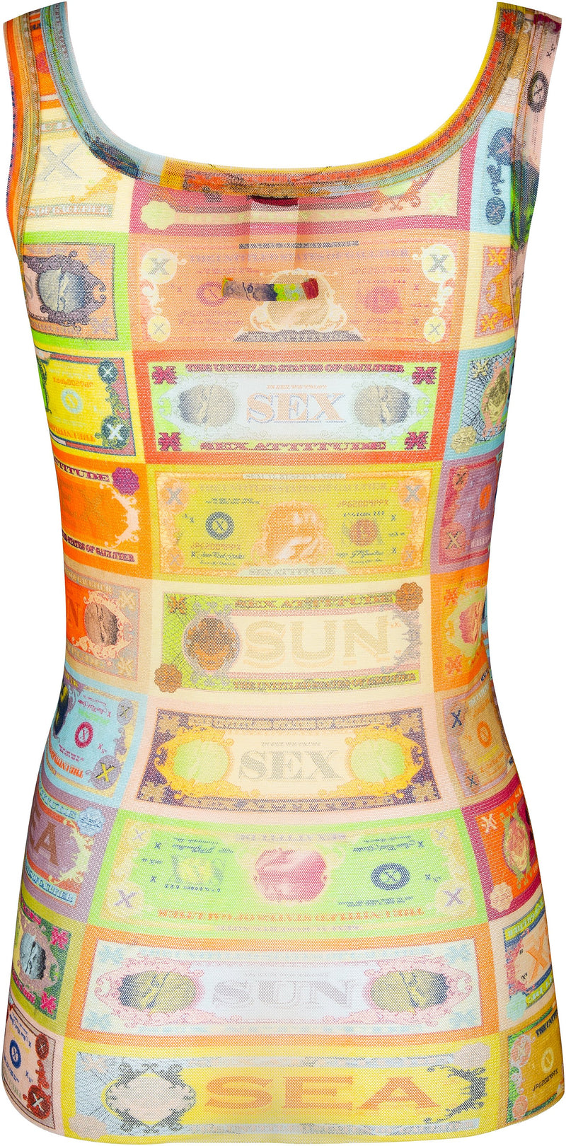 Jean Paul Gaultier Sheer Currency Tank Top