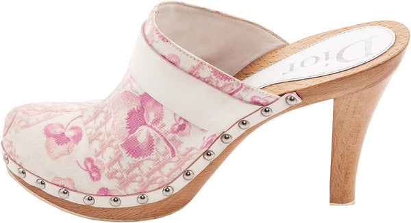 Christian Dior Resort Logo Flowers Platform Clogs