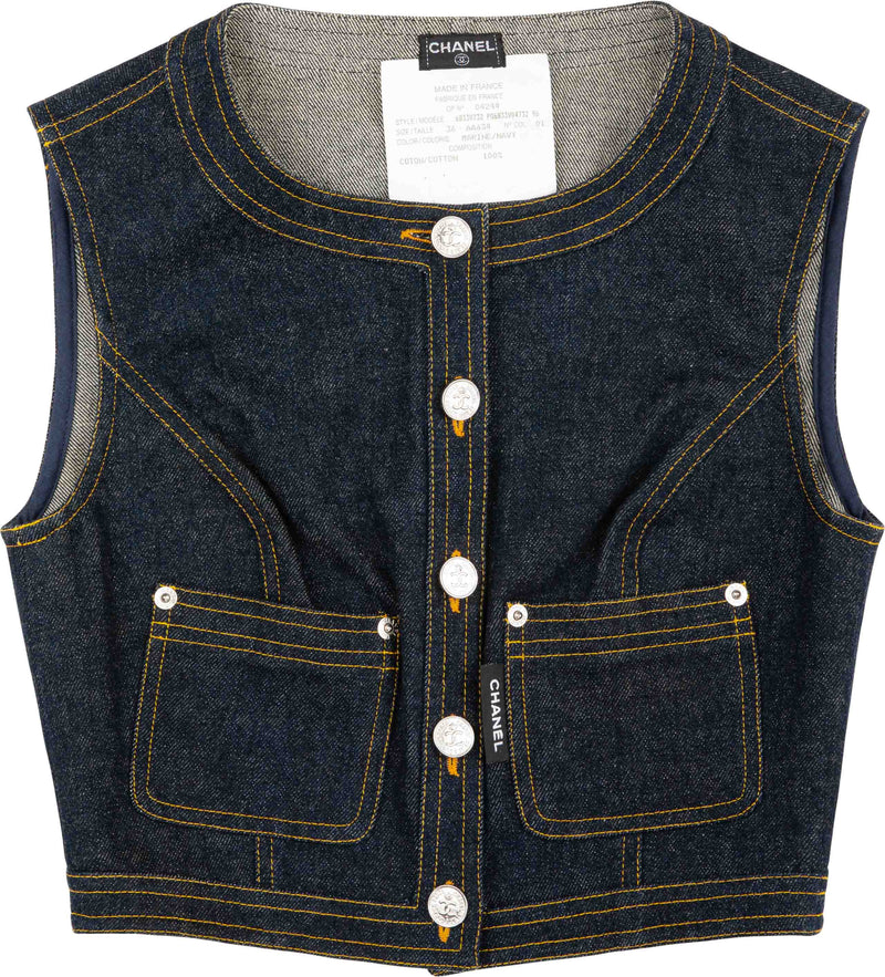 Chanel Spring 1996 Runway Denim Cropped Vest Top