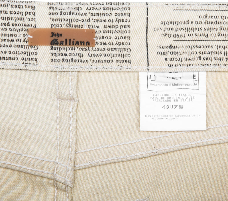 John Galliano Gazette Beige Newspaper Jeans