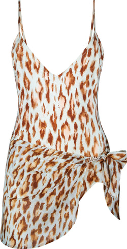 Christian Dior Leopard Swarovski One-Piece Sarong Set