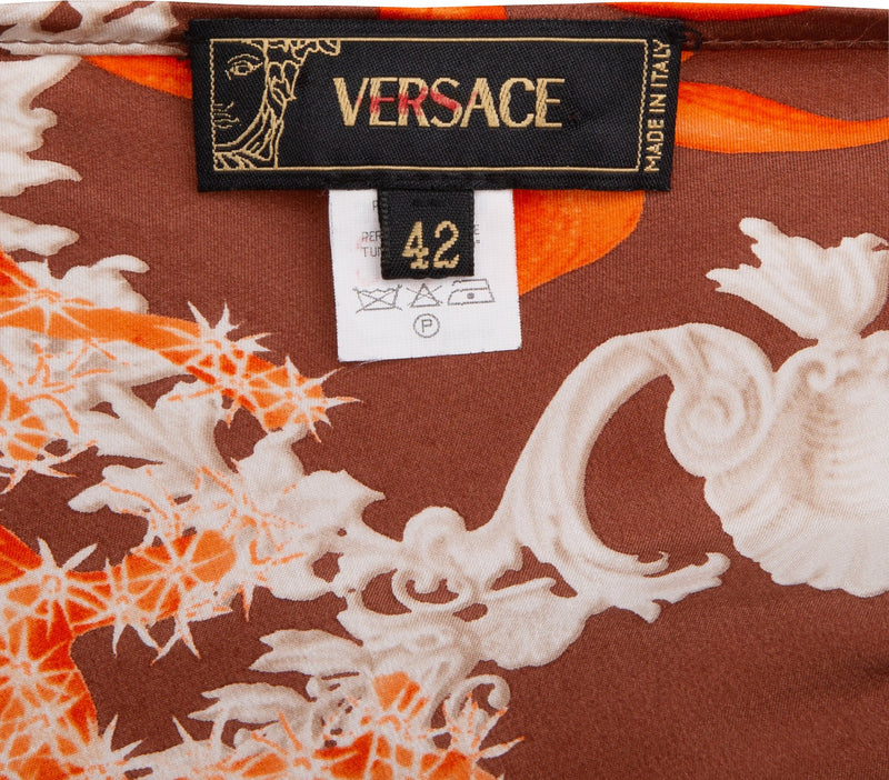 Gianni Versace Silk Medusa Medallion Halter Top