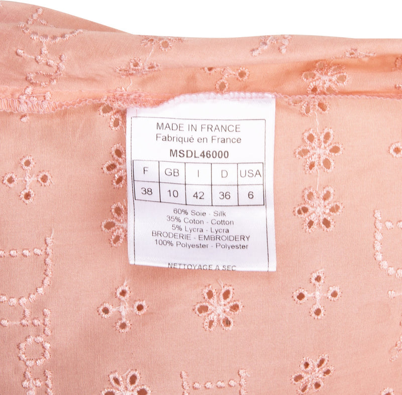 Christian Dior Pink Embroidered Logo Eyelet Ruffle Dress