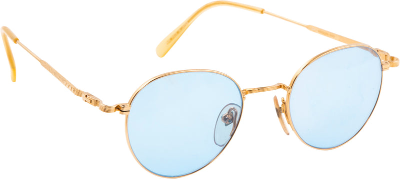 Jean Paul Gaultier Blue Transparent Gold Wire Frame Sunglasses