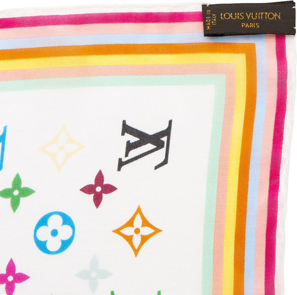 Louis Vuitton Tadashi Murakami Multicolor Monogram Silk Scarf