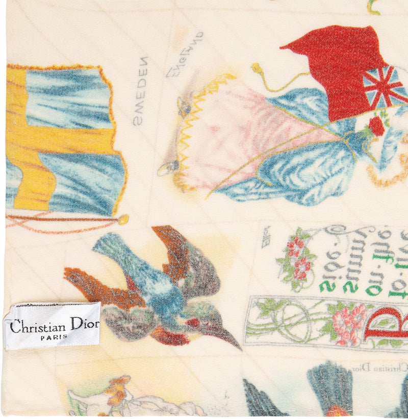 Christian Dior Spring 2002 Stamp Printed Silk Scarf
