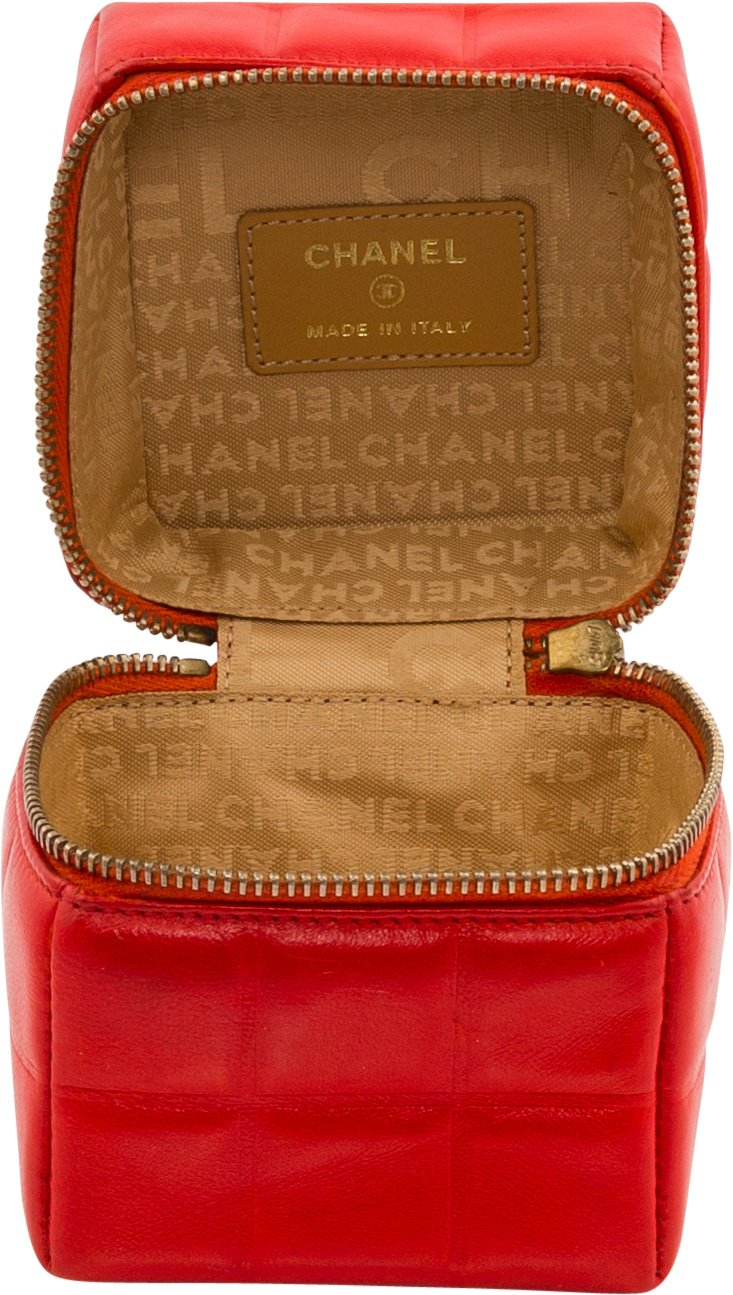 Chanel Spring 2004 Red Quilted Patent Leather Rubik's Cube Wristlet