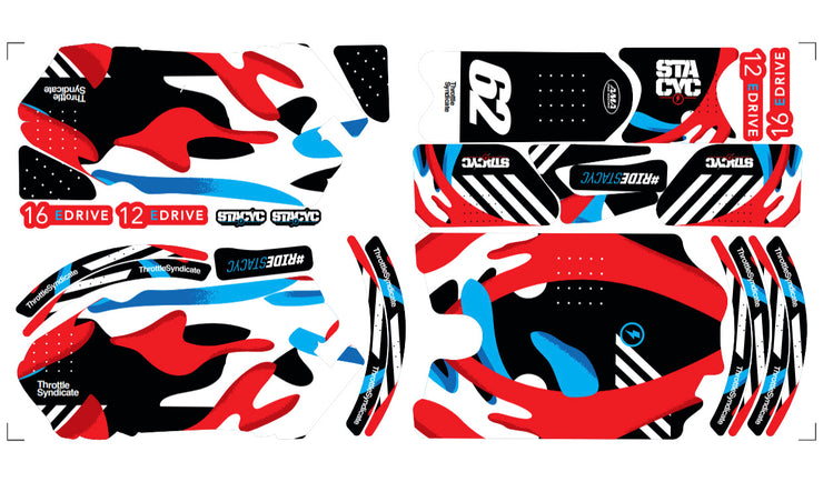 STACYC LIQUID CUSTOM GRAPHIC KIT - RED / BLUE