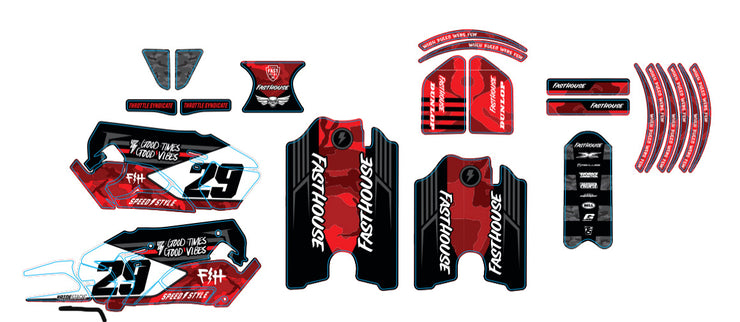 STACYC FASTHOUSE CUSTOM GRAPHIC KIT - RED CAMO