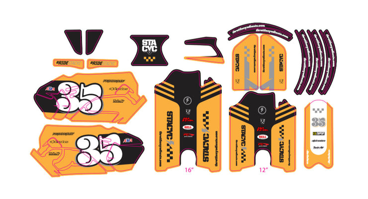 STACYC CAFE RACER CUSTOM GRAPHIC KIT - YELLOW