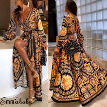 Load image into Gallery viewer, Vintage Long Sleeve Boho Maxi Dress
