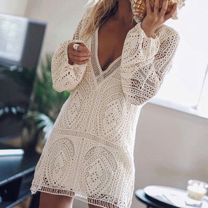 White Lace Boho Mini Dress