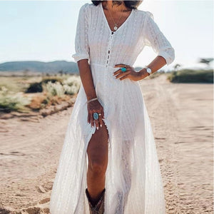 Half Sleeve White Lace Long Tunic Beach Dress