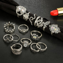 Load image into Gallery viewer, 16 Piece Carved Knuckle Midi Rings Set