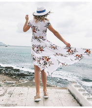 Load image into Gallery viewer, Deep V Floral Chiffon Maxi Dress