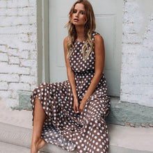 Load image into Gallery viewer, Sleeveless Brown Polka Dot Maxi Dress