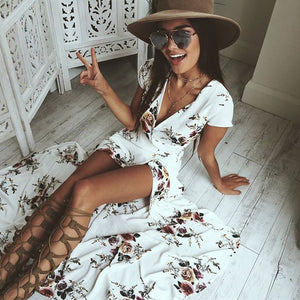 Deep V Floral Chiffon Maxi Dress