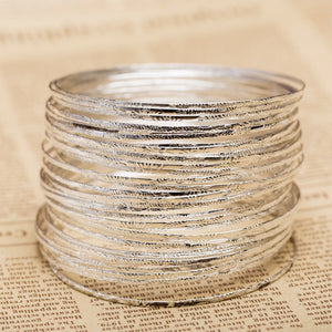 5 Piece Silver Plated Cuff Bangles